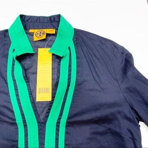 Tory Burch Navy Green Tunic